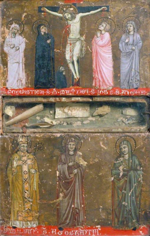 The Crucifixion with a Donor in Monastic Habit, the Virgin, Saints John the Evangelist, Scholastica and Agnes (top); Saints Emilian and Agostantia and an Unidentified Female Saint (bottom) (right-hand panel of a reliquary diptych)