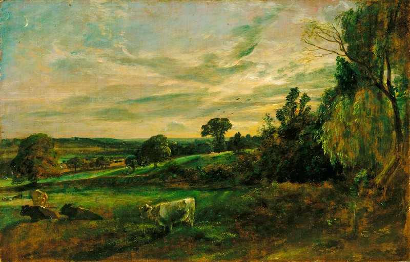 Summer Evening: View near East Bergholt Showing Langham Church, Stratford Church and Stoke-by-Nayland Church