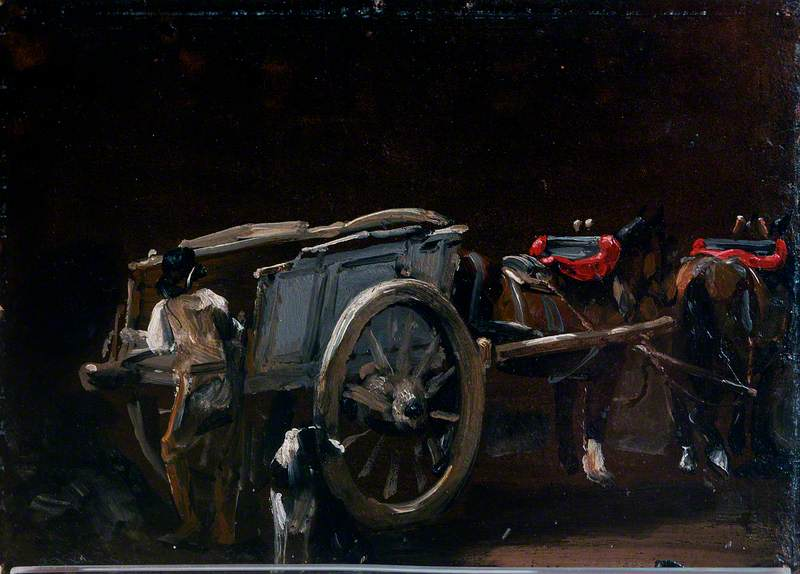 Study of a Cart and Horses with a Carter and a Dog
