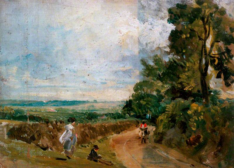 A Country Road with Trees and Figures