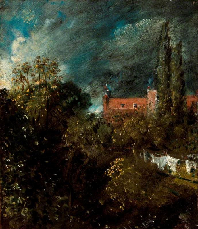 View in a Garden, with a Red House Beyond