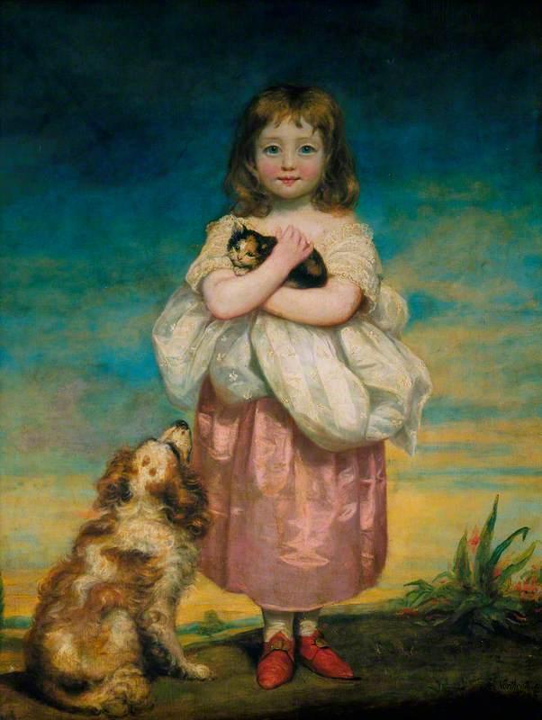 A Little Girl Nursing a Kitten