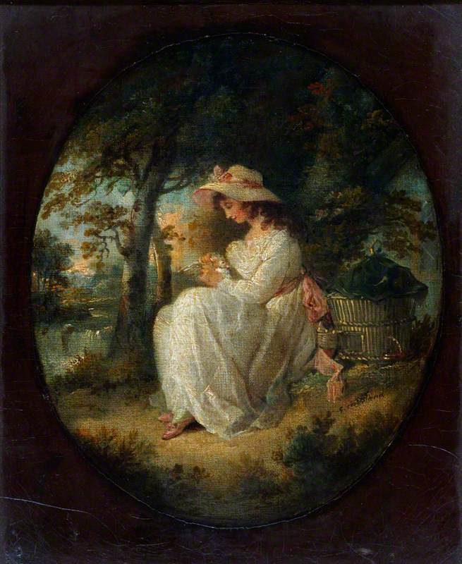 A Girl Seated and Fondling a Dove