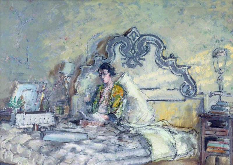 Mrs Gilbert Russell Sitting in Bed