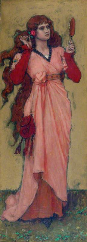 A Girl Holding a Mirror and a Rose