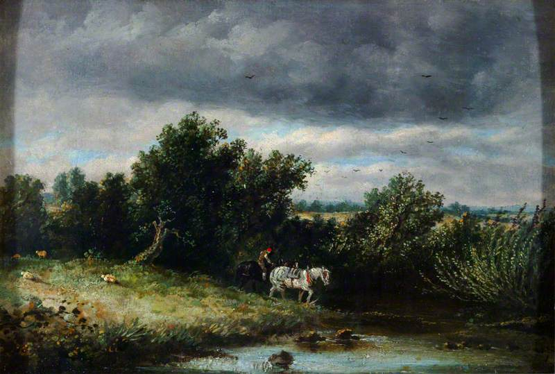 Landscape with Two Horses and a Brook