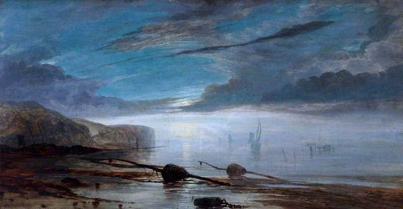 Coast Scene at Low Tide, Moonlight