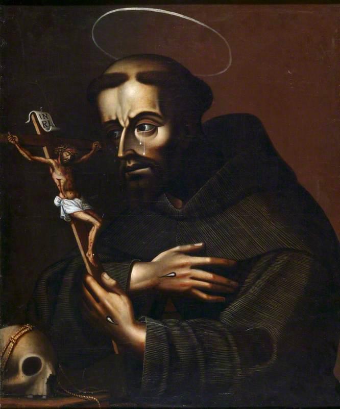 Saint Francis Contemplating a Crucifix and a Skull