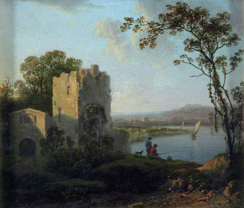 Landscape: Tower on the Bank of a River with Two Men Fishing
