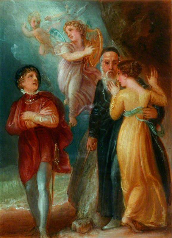 Ferdinand, Ariel, Prospero and Miranda