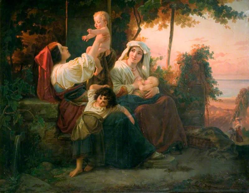 Italian Women in a Vineyard near Rome