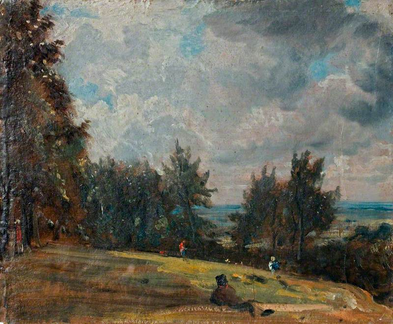 A View at Hampstead with Trees and Figures