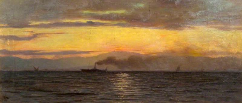 A Steamer on Lake Geneva: Evening Effect