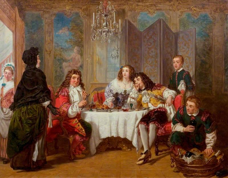 Madame Jourdain Finds Her Husband Entertaining Dorimène and Dorante