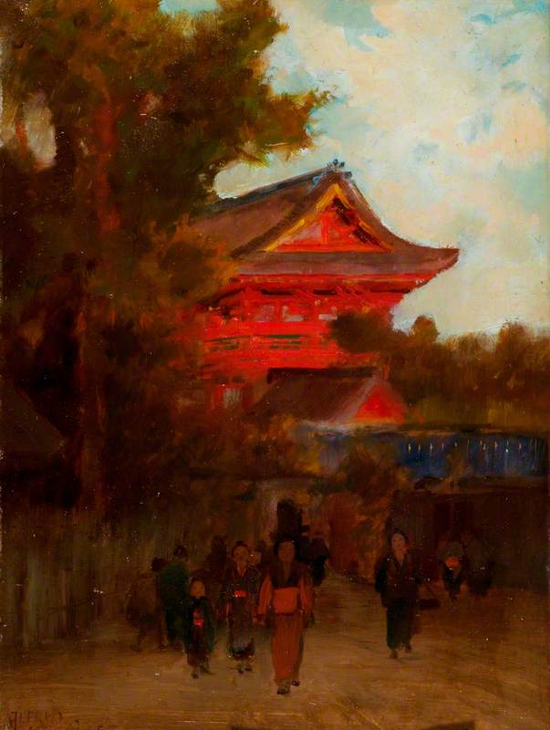 Japanese Scene with a Red Building