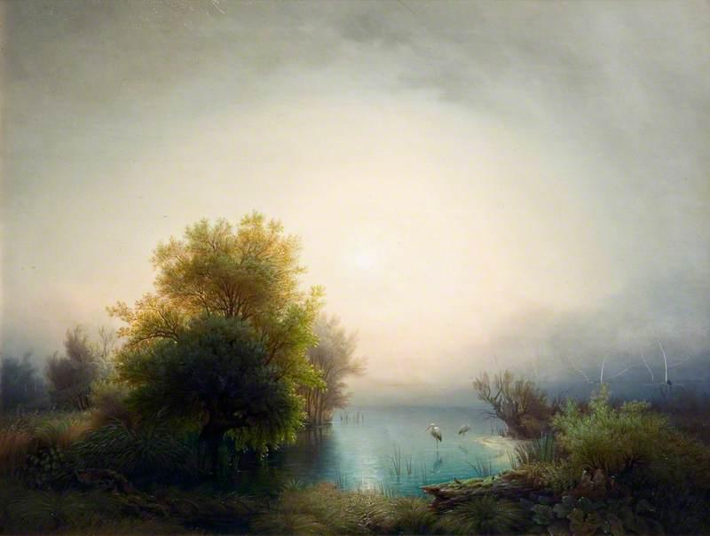 Lake Scene with Herons