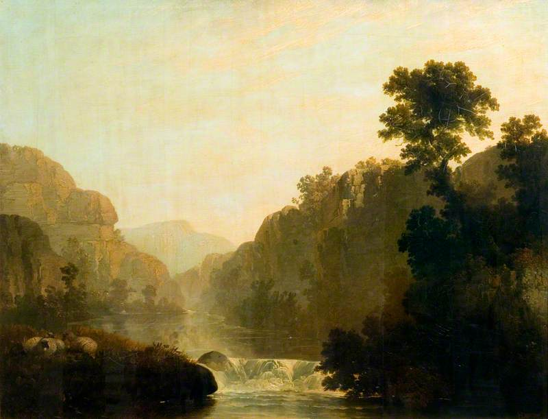 Rocky Landscape with a River and Sheep