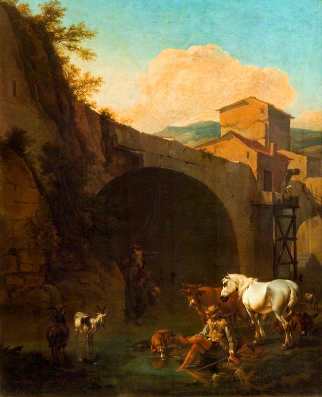 Arch of a Bridge with Peasants and Cattle