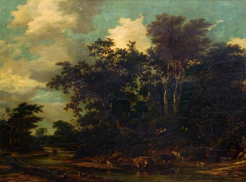 Woody Landscape with Cattle and a Stream