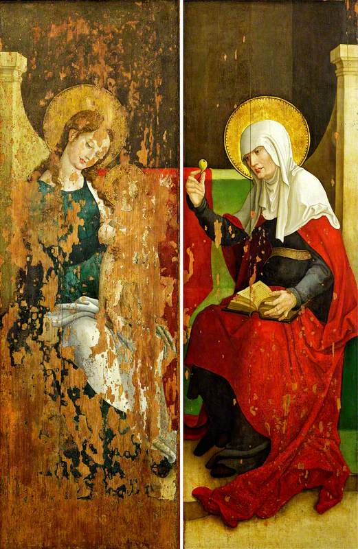 The Boppard Altarpiece: The Virgin and Christ Child (left panel); Saint Anne Offering a Pear (right panel) (triptych, closed)