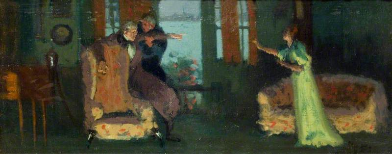 Winifred Emery (1844–1921), as Rosamund, Cyril Maude (1862–1951), as Mr Watkin, and Brandon Thomas (1850–1914), as Mr Brabazon, in 'Sowing the Wind' by Sydney Grundy