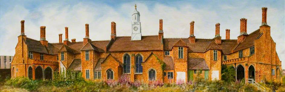 Bedworth Almshouses from the Back, Warwickshire