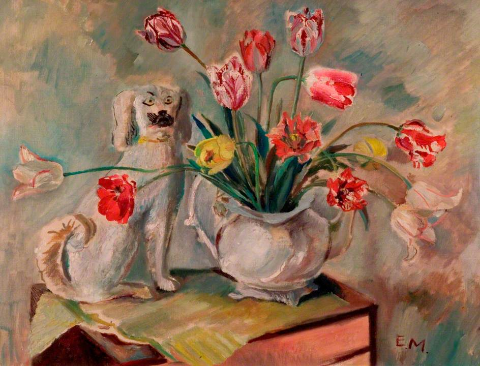 Staffordshire Dog with Tulips in a Vase