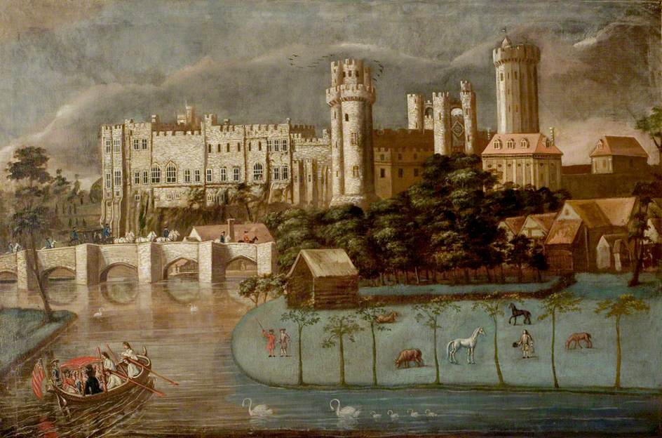 Warwick Castle From The River With A Party In A Barge Art UK
