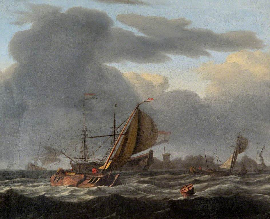 A Warship at Anchor in a Rough Sea