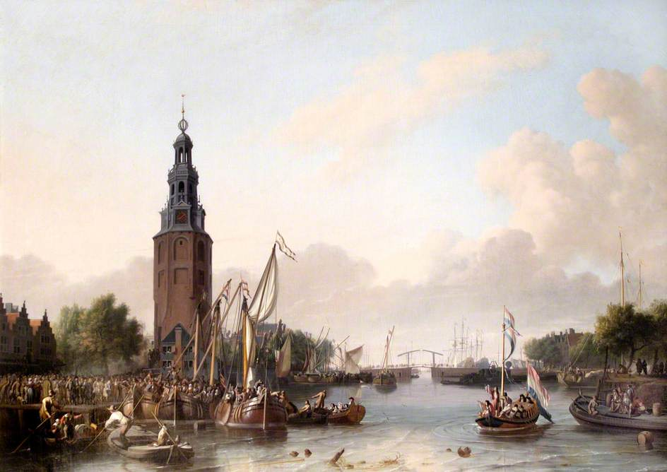 Soldiers of the Dutch East India Company Embarking at the Montelbaans Tower, Amsterdam