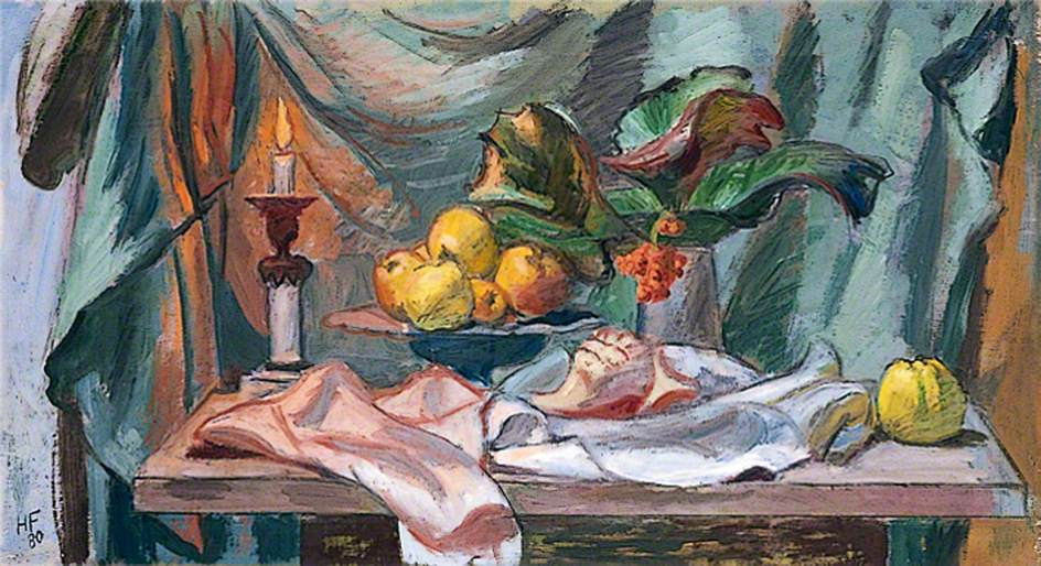 Still Life of a Candle, a Bowl of Apples and a Vase of Bergenia