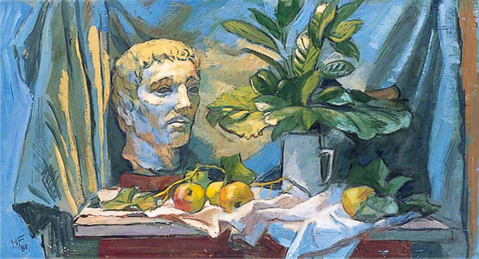 Study of a Roman Bust, Fruit, Leaves and a Drape