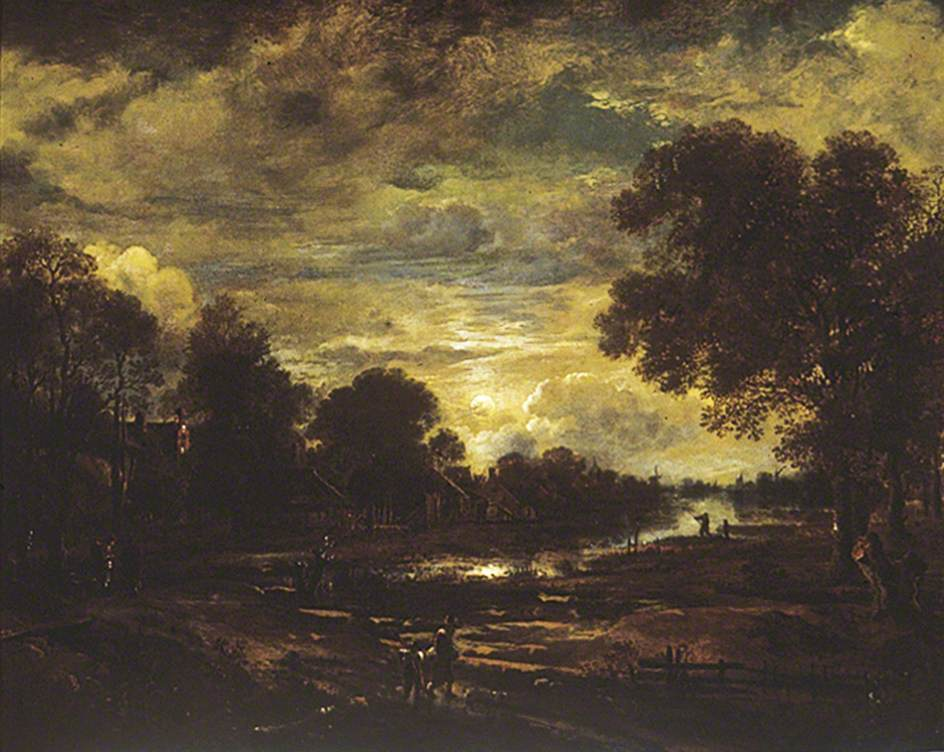 Dutch Town on a River by Moonlight