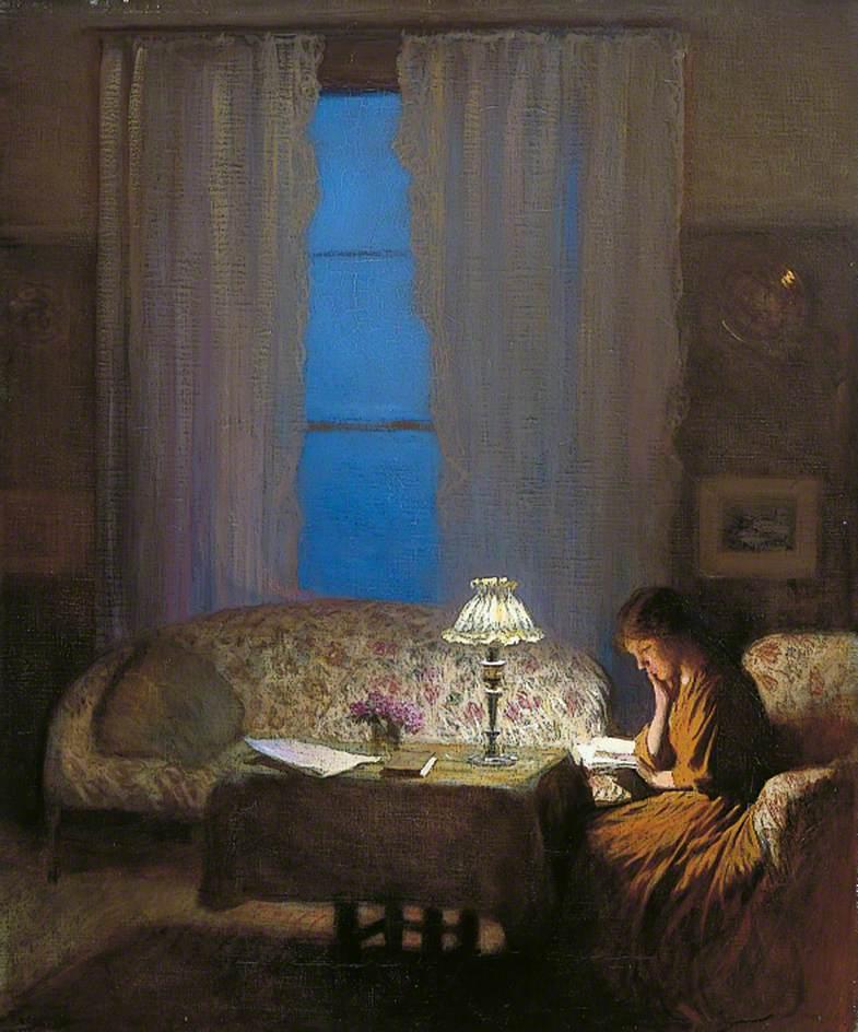 Reading by Lamplight (Twilight: Interior)