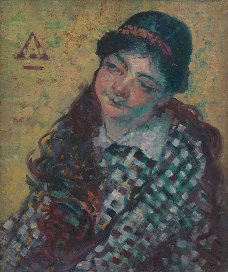 Young Woman in a Checkered Dress